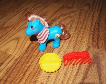 My Little Pony G1 Baby Drummer Baby Brother RARE Hasbro with Dish and Bandanna Vintage Ponies