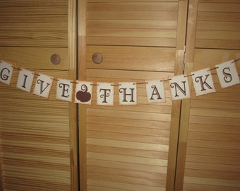Give Thanks Banner Fall Autumn Banner