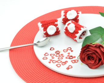 Napkin rings crochet in red and white - Suitable for Valentine's Day or Christmas