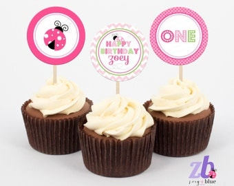 Pink Ladybug Cupcake Toppers 1st Birthday ONE First Birthday Ladybug Party Circles Favor Stickers Pink Green Ladybug Printable Digital File