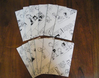 Calvin and Hobbes set of 10 - Recycled Up-cycled Stationery Envelopes or lunch box notes from pages from Calvin and Hobbes book