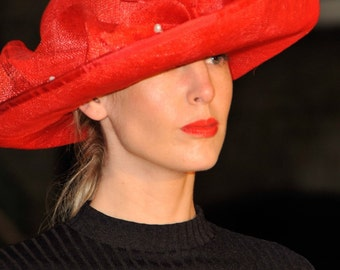 Sinamay red hat headpiece fascinator perfect accessory for bride, guest, mother-of-bride or mother-of-groom on wedding day or prom