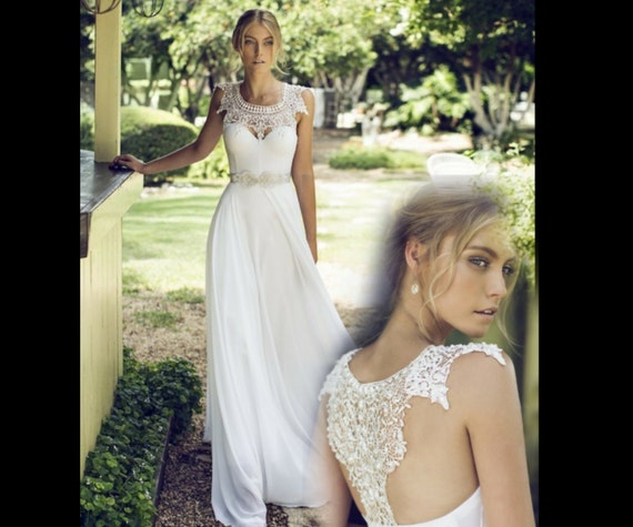 Boho Lace Wedding Dress Etsy : Lace wedding dress replica boho
