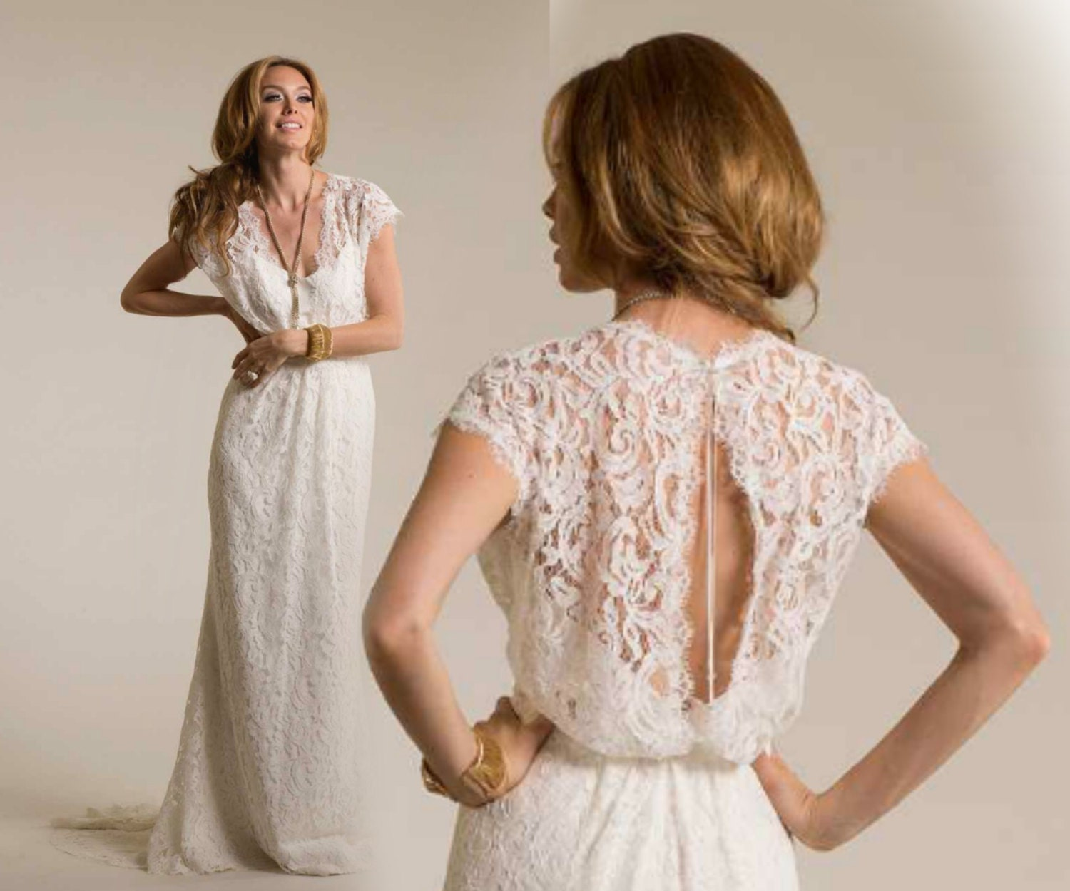 Boho Lace Wedding Dress Etsy : Neck lace wedding dress boho by bailynnbounique