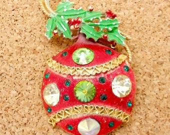 N8: Rare Weiss Vintage Rivoli Rhinestone Christmas Ornament Brooch--signed Weiss