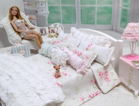 hellgr n mit rosa rosen r schen bettw sche bettzeug 12inch. Black Bedroom Furniture Sets. Home Design Ideas