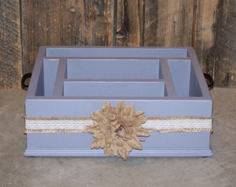 Gray burlap flower table top caddy, wood caddy, table top serving caddy, salt pepper paper plate napkin holder caddy, table organizer