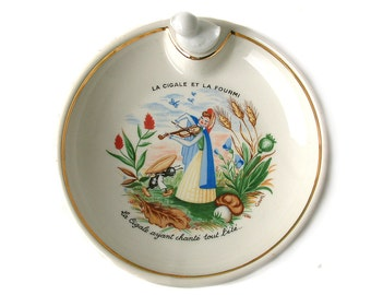 French vintage baby dish food warmer in porcelain. Baby shower. Baby gift. Infant feeding dish. Fable of Ant and Grasshopper