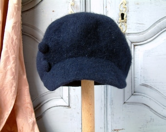 Vintage french ladies navy blue mohair wool newsboy cap. Paris chic french hat. 1960-70s Mushroom hat. Vintage ladies soft wool newsboy cap.