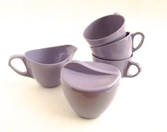 Vintage Melmac Lavender Sugar Creamer Cups Set Melamine Royalon
