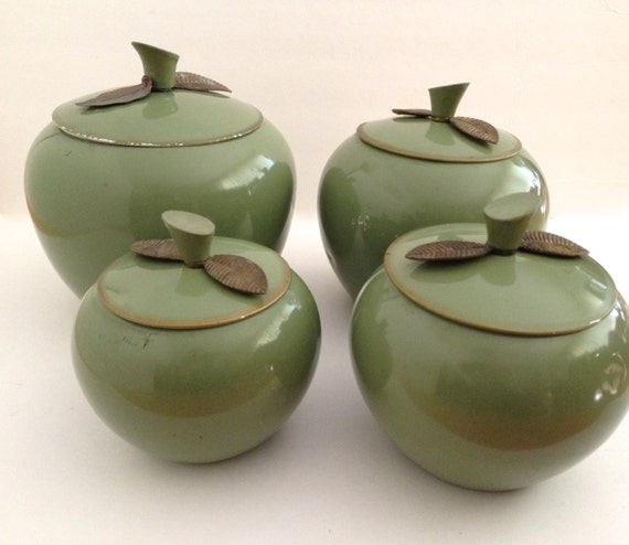 vintage canister set green apples aluminum kitchen storage