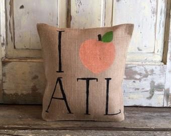 Burlap Pillow - I (peach) ATL pillow | Atlanta, Georgia Pillow |  Graduation Gift | Mother's Day gift | Wedding gift