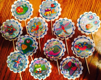 Bugs Insects Birthday party supplies Cupcake toppers baby shower