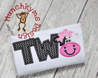 TWO Cow Girl Applique