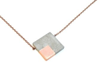 SALE 40% OFF Copper Concrete Necklace Square with copper leafing, Modern Necklace / Concrete Jewelry / Industrial Necklace