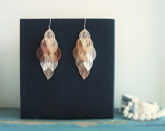 Chandelier Feather Earrings, Leaf Earrings, Layered Feather Earrings