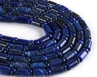 "0496 10mm Lapis tube & rondelle spacer loose gemstone beads 16"""