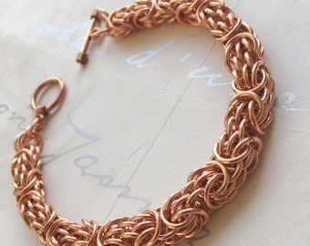 Solid Copper Bracelet, Mens Copper Jewelry, Tryzantine Chainmail, Statement Bracelet, Copper Anniversary Gift, Mens Chain Jewelery