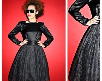 SALE Stunning Vintage Black Satin & Lace LIZ CLAIBORNE Formal Dress