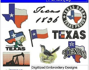 Embroidery Design CD - Texas(2) - 9 Designs - 9 Formats - Threadart