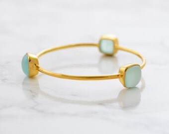 Aqua Chalcedony Bangle - Seafoam Chalcedony Bangles - Stackable Bangles - Stacker Bangle - Gemstone Bangle Bracelet