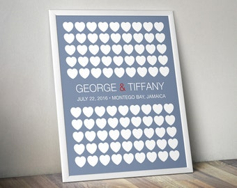 Custom Wedding Guest Poster - Signature Hearts - Wedding Guest Book - Wedding Keepsake