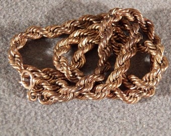 Vintage 12 K Yellow Gold Filled Classic Rolled Rope Link Necklace Chain      **RL