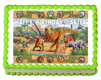 Dinosaurs Jurassic party edible cake image cake topper frosting sheet