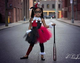 Superhero Inspired Collection: Harley Quinn Tutu Dress Set, Birthday, photo prop, Holloween, Harley Quinn Costume