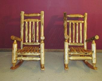 Rustic Cedar Log Rocking Chair