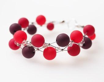 red bracelet polaris bracelet pearls dark red bordeaux with Swarovski® Kristallen