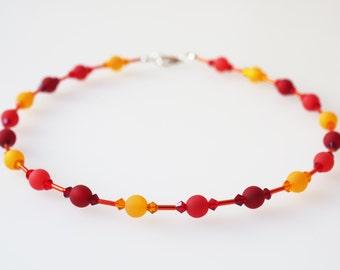 red necklace red orange polaris with Swarovski® Kristallen