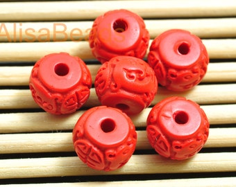 Vintage Carved Cinnabar ,red Spacer beads,Synthetic rondelle Beads ,8 mm wide X  6mm Thick,10pcs