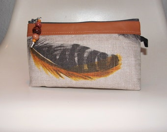 FEATHER cosmetic bag, washingbag made of cotton, leather and wxed cotton
