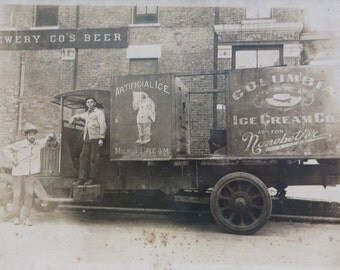 Rare 1910's Columbia Ice Cream Company Delivery Truck and Drivers Photo On Cardboard - Nonebetter Ice Cream - Free Shipping