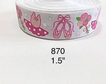 """3 or 5 yards- 1.5"""" Ballet Ballerina Tutu, Shoe, Flower and Silver Foil Star on White Grosgrain Ribbon Hair bow"""
