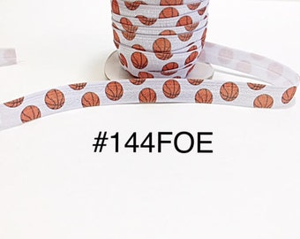 "2/3/5 yard - 5/8"" Sport Basket Ball on White Fold Over Elastic Headband Hair Accessories"