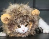 Cat Lion Mane, tan and beige cat lion hat, cat costume, cute cat headwear, cat wig, warm cat hat, cat gifts, fur cat hat, fluffy cat wig