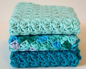 Set of 3 Crocheted Dishcloths//Dark Turquoise//Variegated//Light Turquoise//Kitchen Dishcloths//Best Selling Dishcloth Sets
