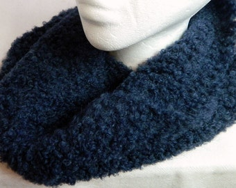 Blue Cowl Navy Blue Cowl Blue Wool Cowl Blue Crocheted Cowl Blue Cowl Scarf Navy Blue Cowl Fuzzy Boucle Crocheted Cowl