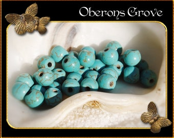 30 turquoise Magnesite Beads 6mm