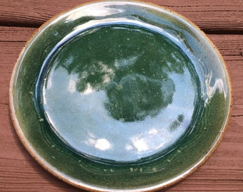 Pottery Ceramic Plate, Green