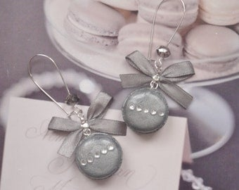 earrings silver macarons
