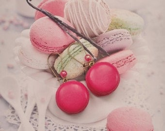 earrings raspberry macarons