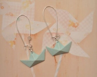 earrings origami boat polymer clay