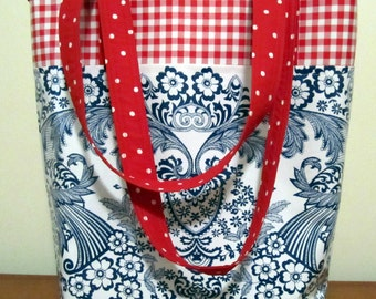 Red White and Blue Oil Cloth Tote Bag