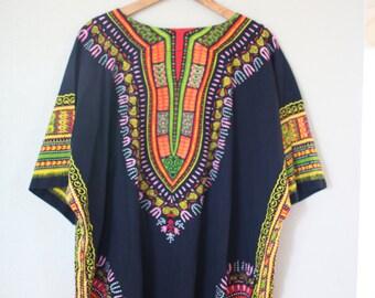 vintage dashiki black  batik embroidered tunic top with pockets