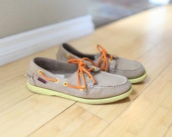 vintage sebago tan suede orange & lime boat shoes womens 7 1/2 *