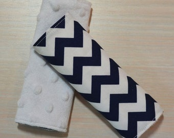 Car Seat Strap Covers - Navy Blue Chevron