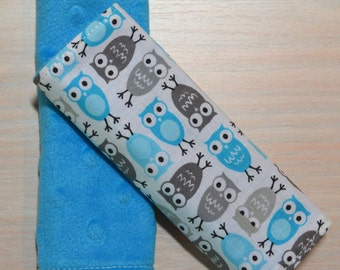 Car Seat Strap Covers - Small Owls, Blue and Grey